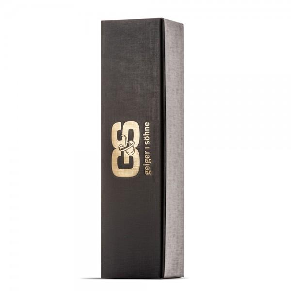 Präsentkarton mit gold geprägtem G&S Logo Einzelverpackung für Flaschen