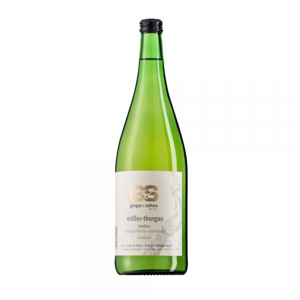 Müller Thurgau Weißwein aus Franken Kabinett trocken in der Literflasche
