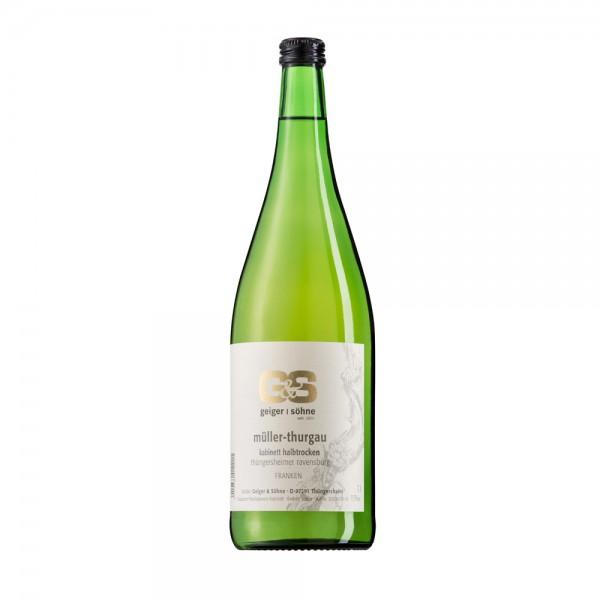 Müller Thurgau Weißwein aus Franken Kabinett halbtrocken in der Literflasche